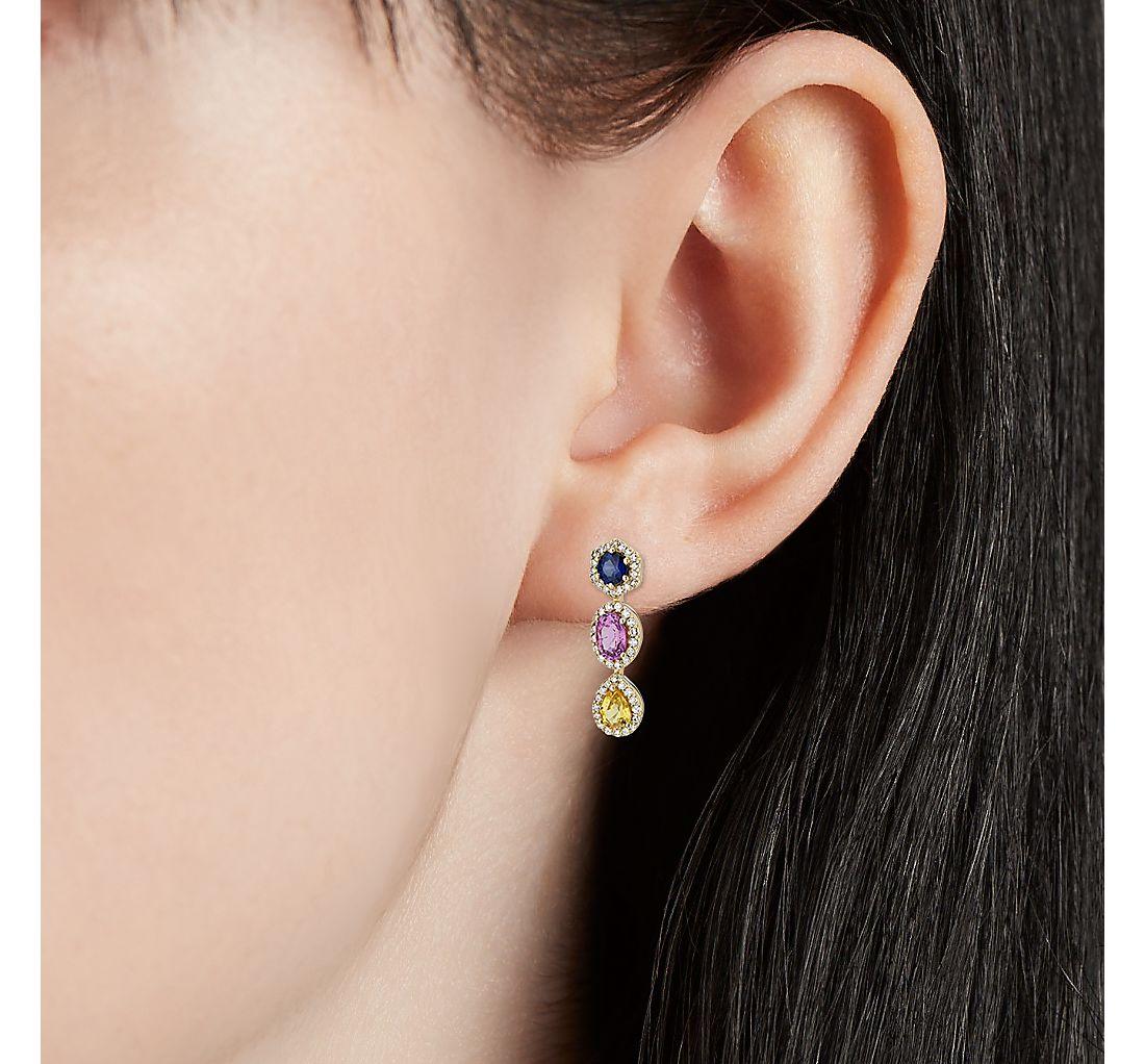 18k 金多彩蓝宝石和钻石光环吊式耳环
