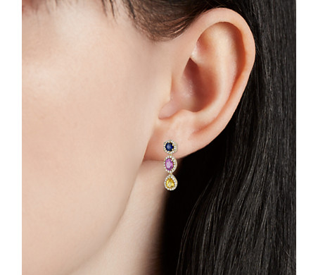Multi-color Sapphire and Diamond Halo Drop Earrings in 18k Yellow Gold