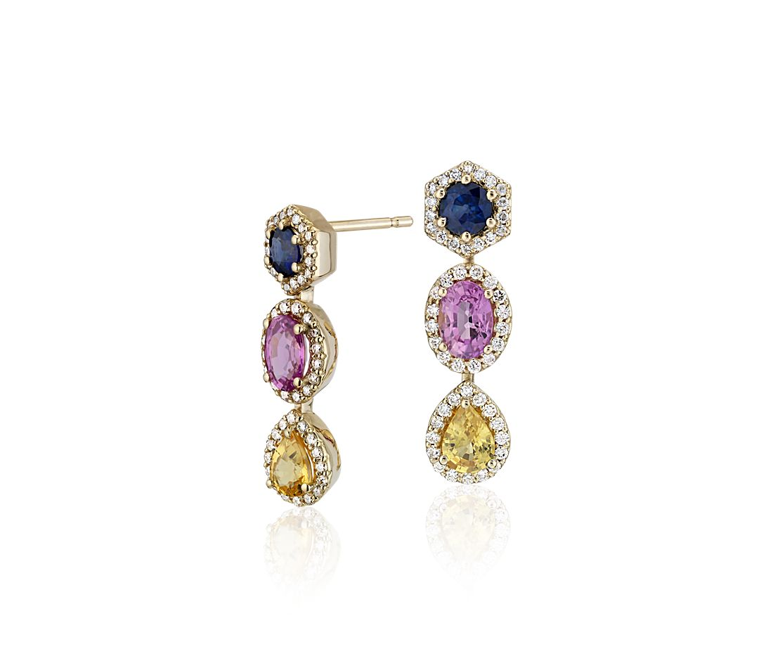 Multi Color Shire And Diamond Halo Drop Earrings In 18k Yellow Gold