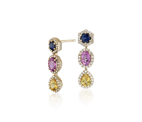 Pendants d'oreilles halo de diamants et saphirs multicolores en or jaune 18 carats