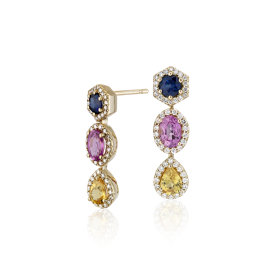 Boucles d'oreilles halo de diamants et saphirs multicolores en or jaune 18 carats
