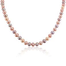 Collar de perlas cultivadas en agua dulce de varios colores con broche de plata de ley en forma de corazón