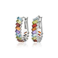 NEW Multicolored Gemstone Hoop Earrings in Sterling Silver