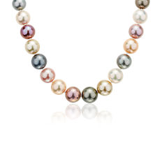 Multicoloured Pearl Strand Necklace in 18k White Gold