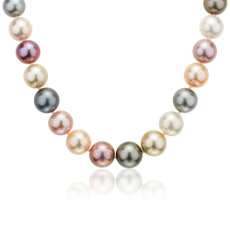 NEW Multicolored Pearl Strand Necklace in 18k White Gold