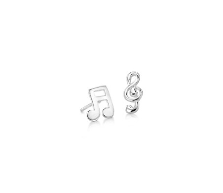Music Note Mismatched Stud Earrings in Sterling Silver
