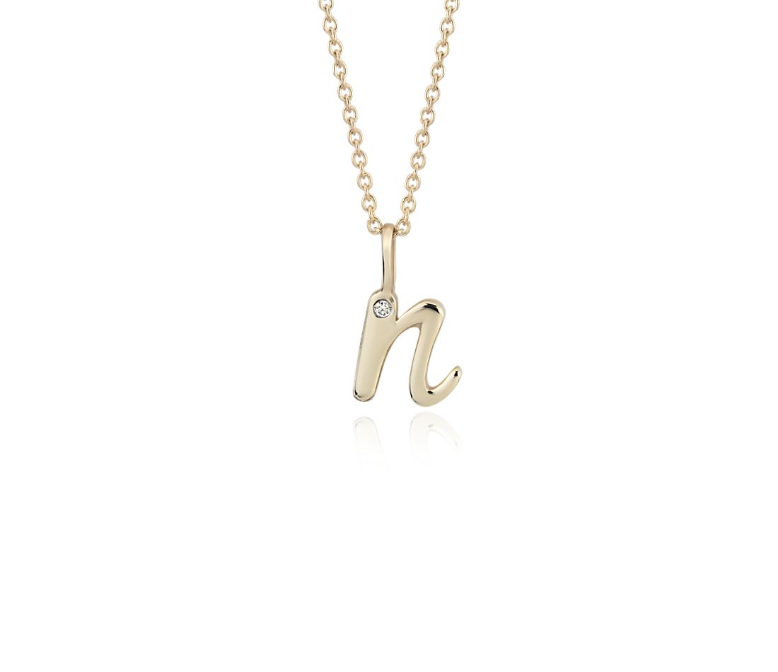 """N"" Mini Initial Pendant with Diamond Detail in 14k Yellow Gold"