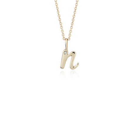 """N"" Mini Initial Diamond Pendant in 14k Yellow Gold"