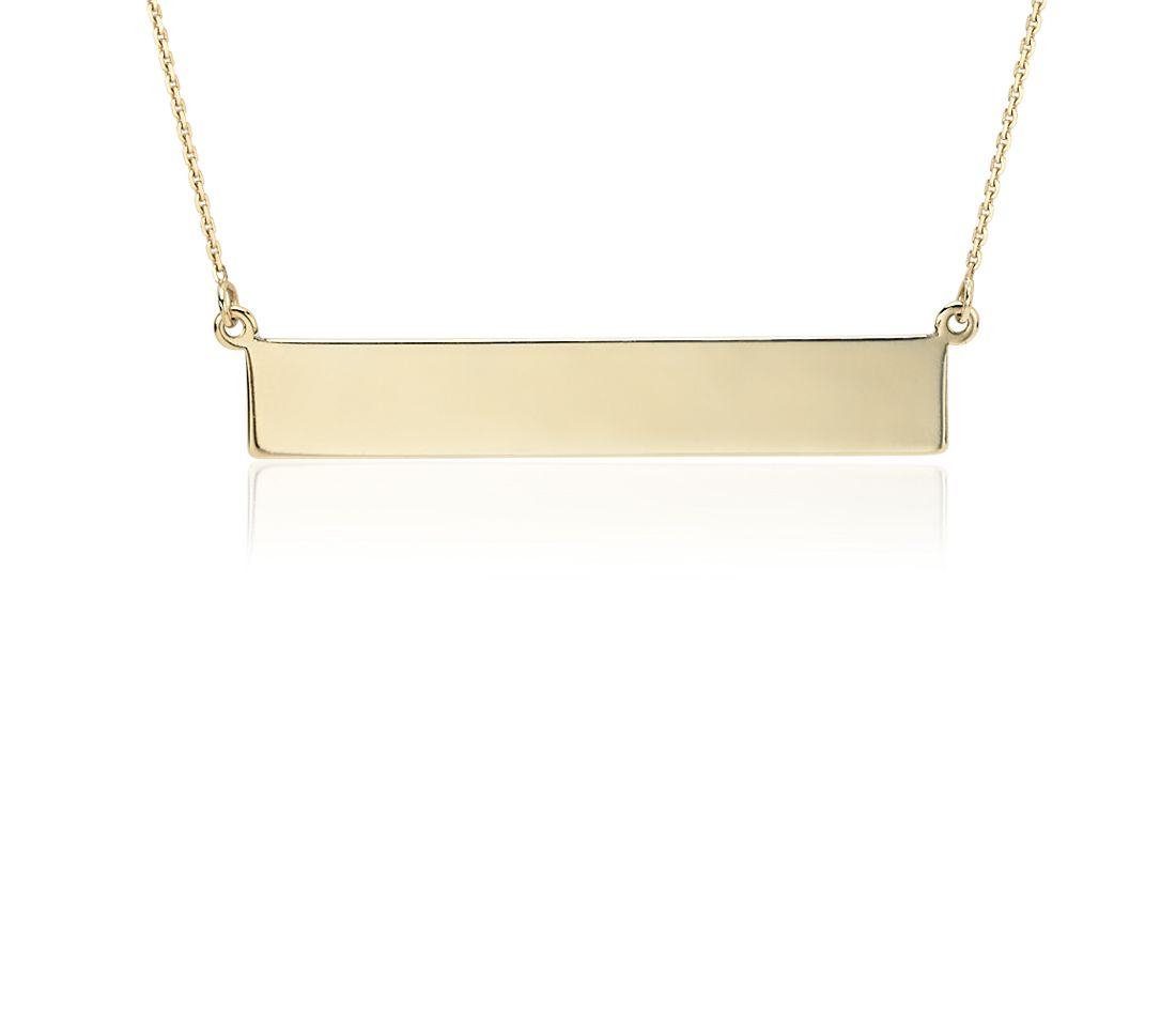 Engravable Bar Necklace in 14k Yellow Gold
