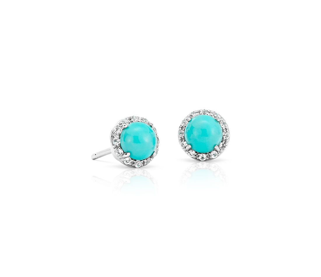 Natural Turquoise Button Stud Earrings in 14k White Gold (5mm)