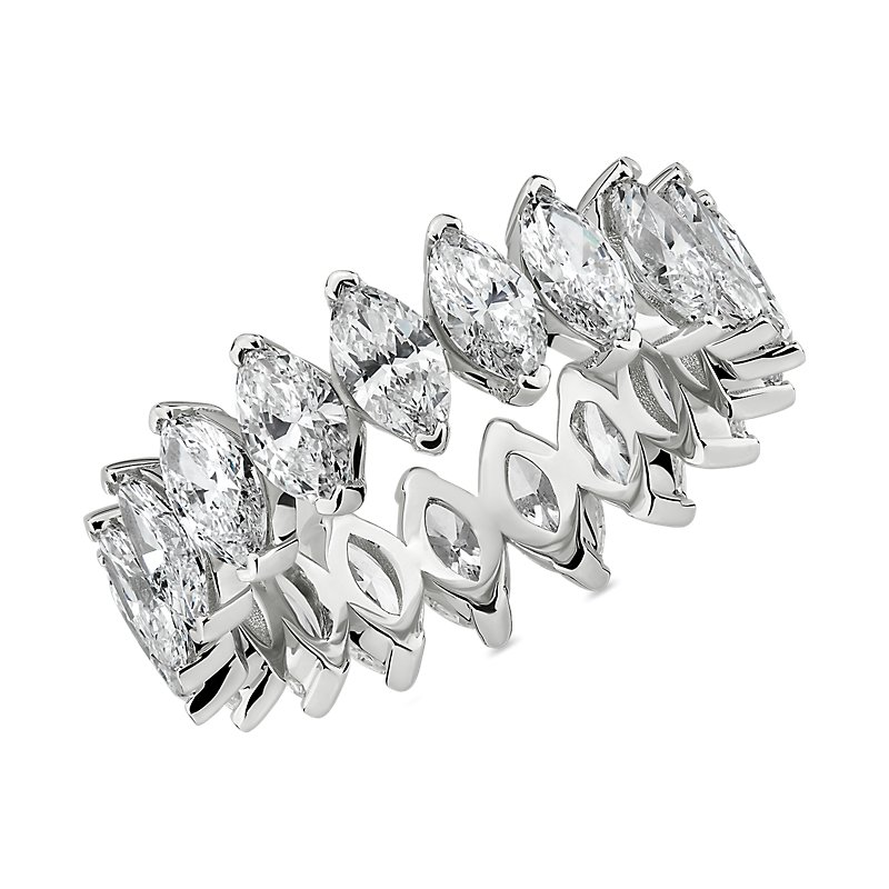North-South Marquise Diamond Eternity Ring in 14k White Gold (3 3