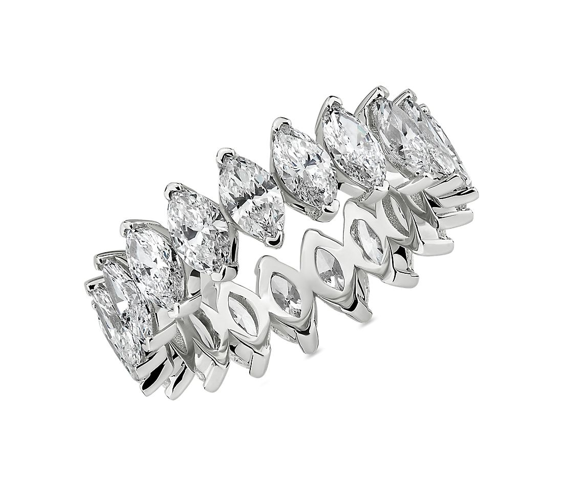 North-South Marquise Diamond Eternity Ring in 14k White Gold (3 3/4 cttw)