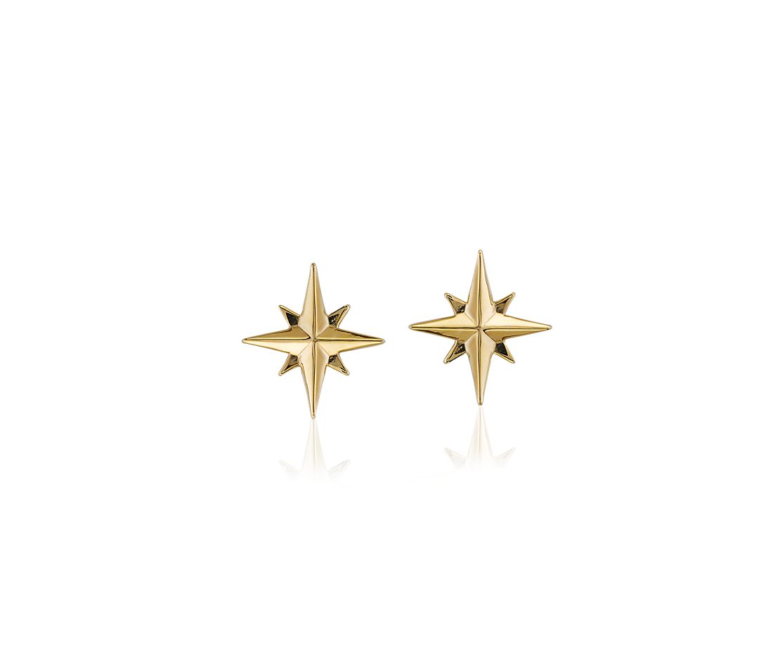 North Star Earrings in 14k Yellow Gold