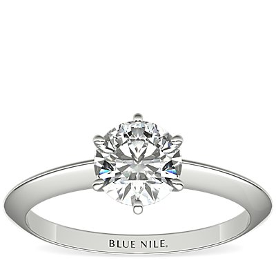 Nouveau Knife Edge Six Claw Solitaire Engagement Ring in 14k White Gold