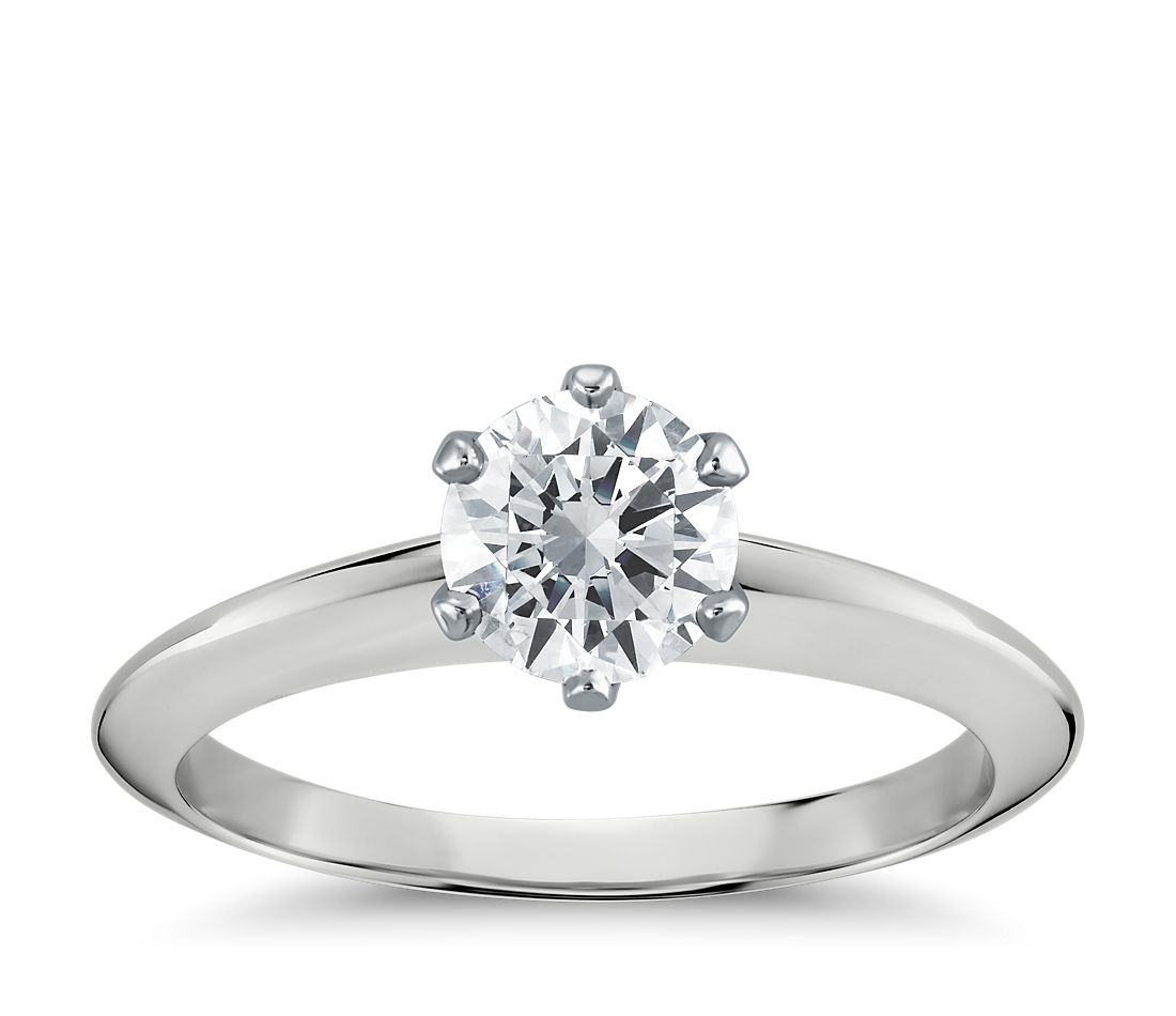 Nouveau Knife Edge Six Prong Solitaire Engagement Ring In Platinum  Blue  Nile