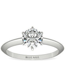 Nouveau Knife Edge Six Prong Solitaire Engagement Ring in Platinum