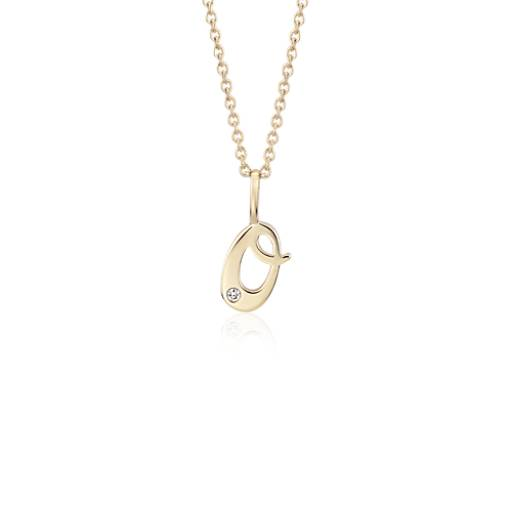 Blue Nile O Mini Initial Diamond Pendant in 14k Yellow Gold nkoZYKvGX0