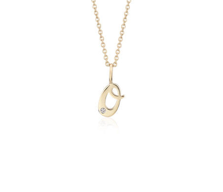 """O"" Mini Initial Diamond Pendant in 14k Yellow Gold"