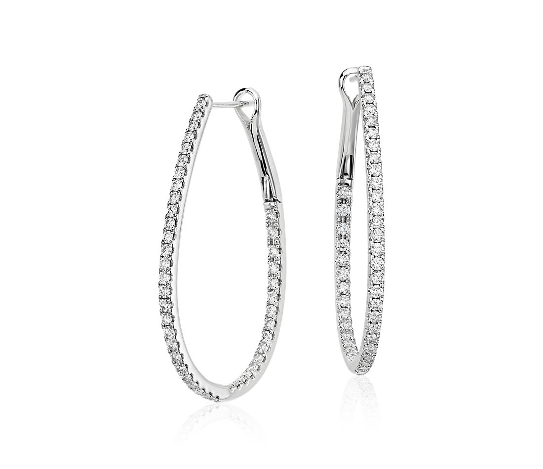 Long Diamond Hoop Earrings In 14k White Gold 1 Ct Tw