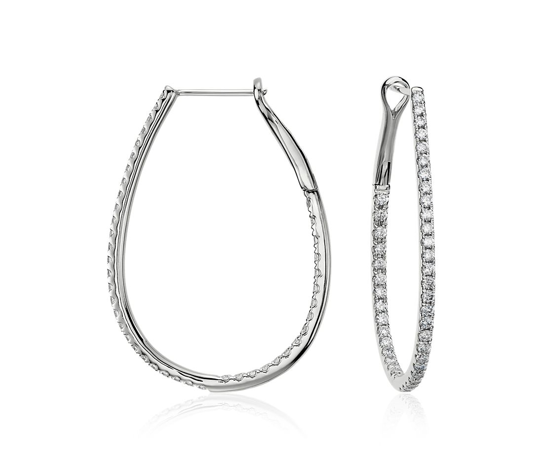 Long Diamond Hoop Earrings In 14k White Gold 1 Ct Tw Blue Nile
