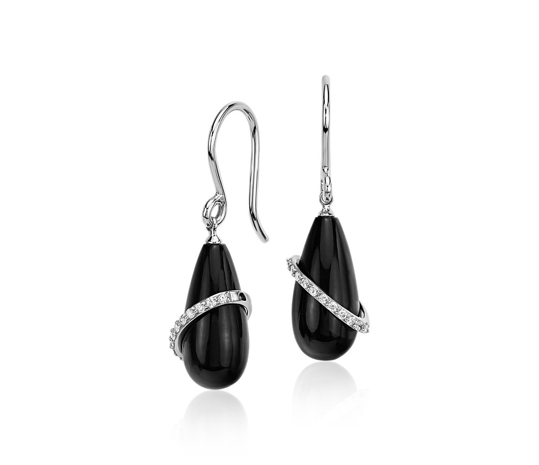 Frances Gadbois Onyx Drop With Diamond Swirl Earrings In 14k White Gold