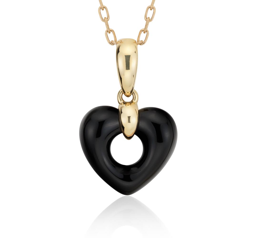 Colgante de ónix en forma de corazón abierto oro amarillo de 14k (11x11mm)