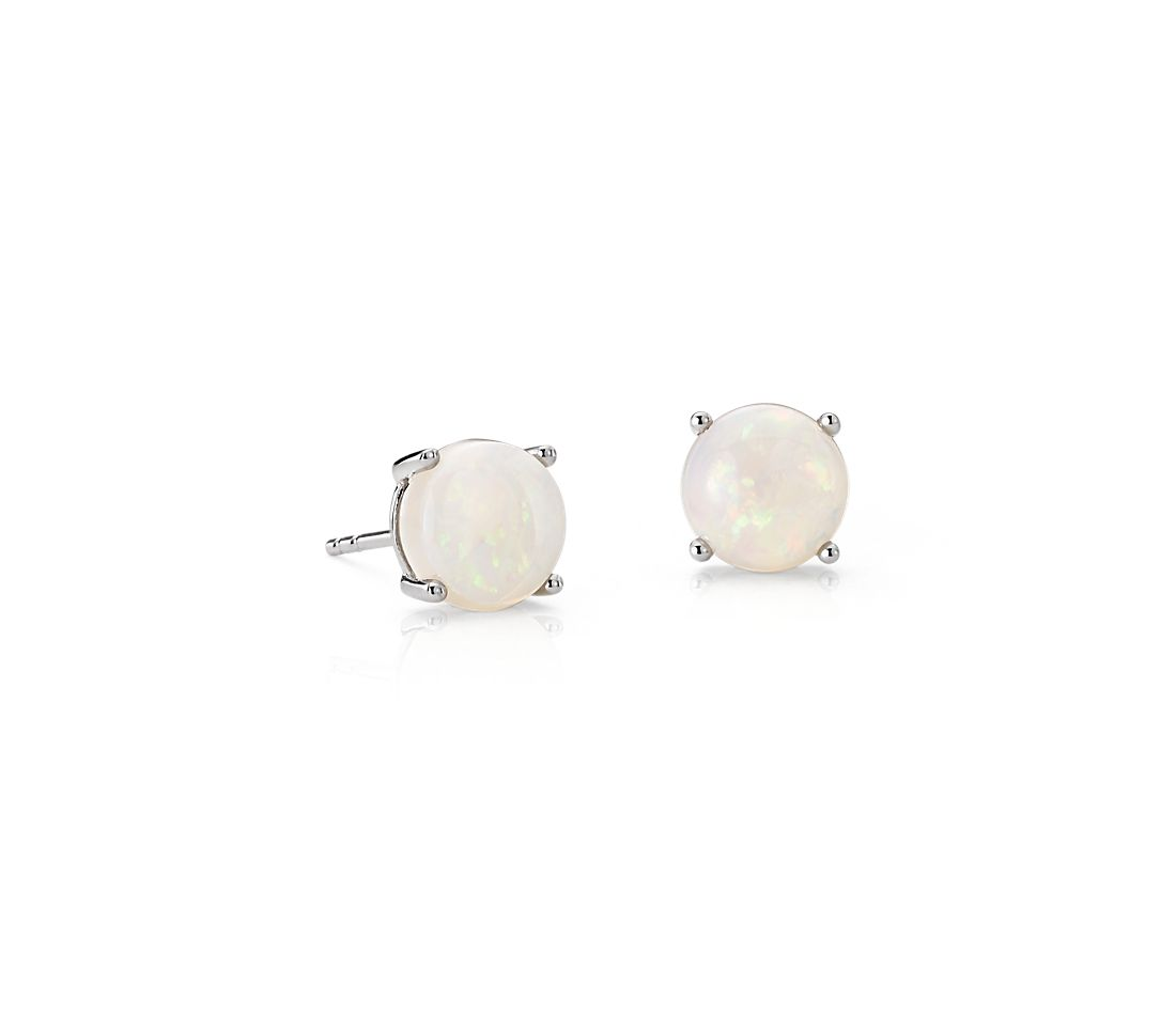 Opal Earrings In 14k White Gold 7mm