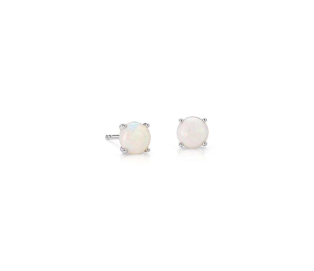 Opal Stud Earrings In 18k White Gold 5mm