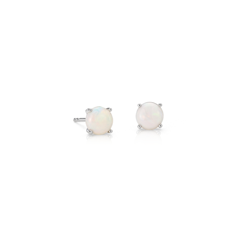 Opal Stud Earrings in 18k White Gold (5mm)