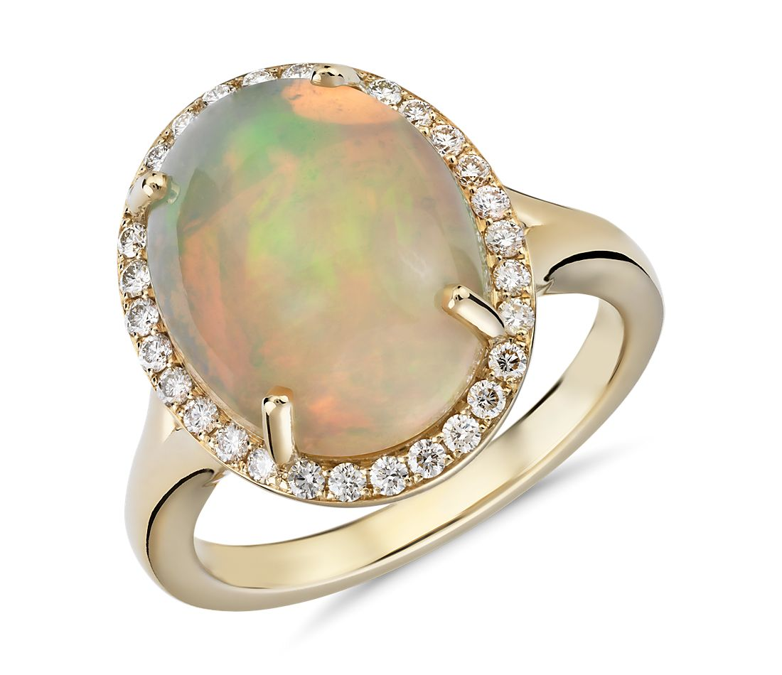 Opal and Diamond Halo Split Shank Ring in 18k Yellow Gold (14x11mm)