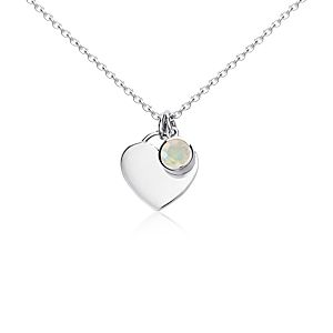 Opal Birthstone Heart Pendant in Sterling Silver (October) (4.5mm)