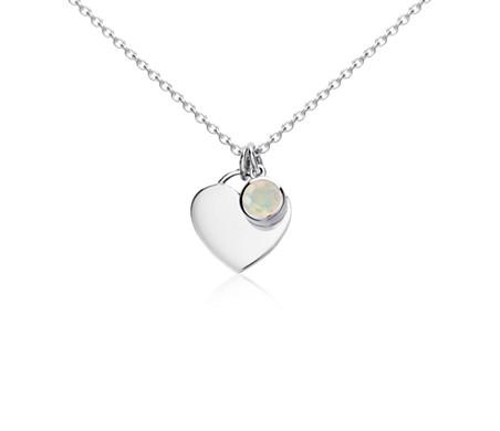 Colgante con forma de corazón con piedra natal de opalo en plata de ley (Octubre) (4,5mm)