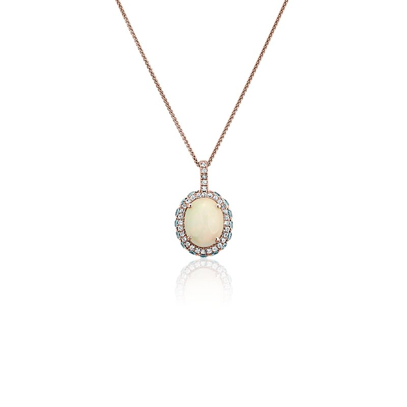 Oval Opal with Blue and White Topaz Halo Pendant in 14k Rose Gold