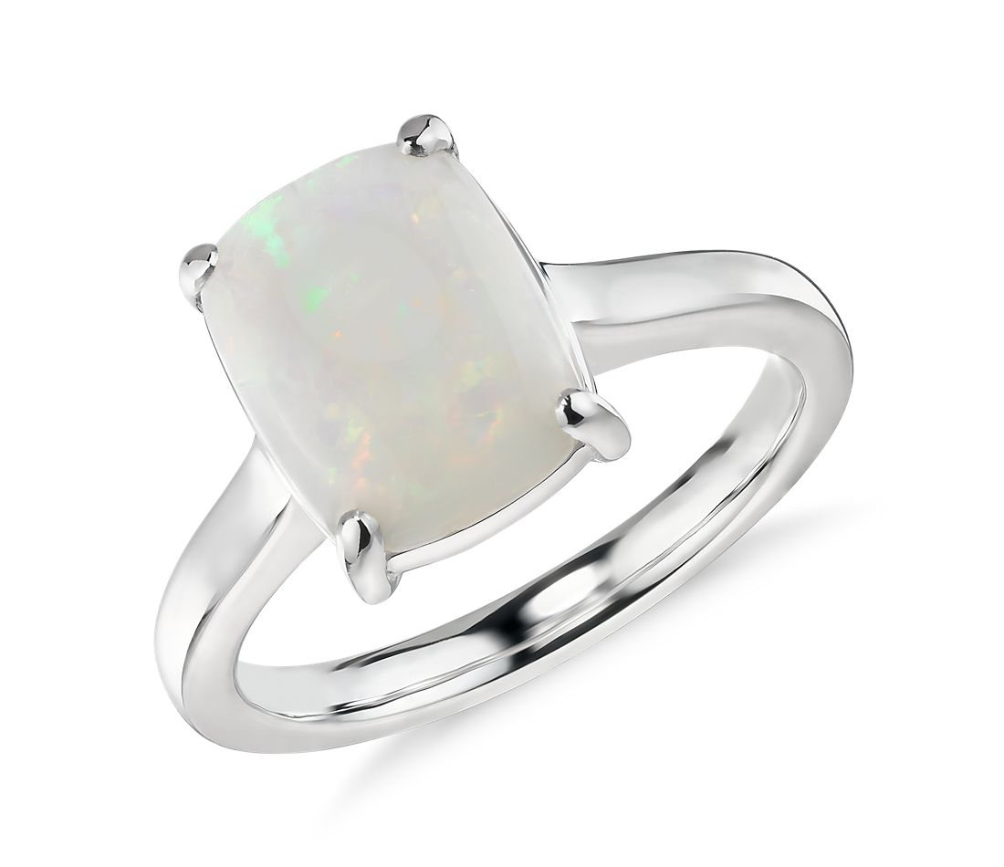 Opal Cushion Cocktail Ring in 14k White Gold (10x8mm)