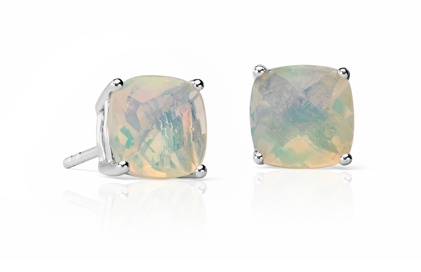 Opal Cushion Earrings in Sterling Silver (8mm)