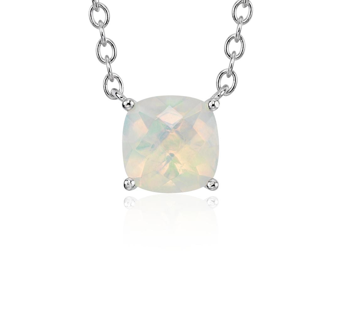 Pendentif opale taille coussin en argent sterling (8mm)