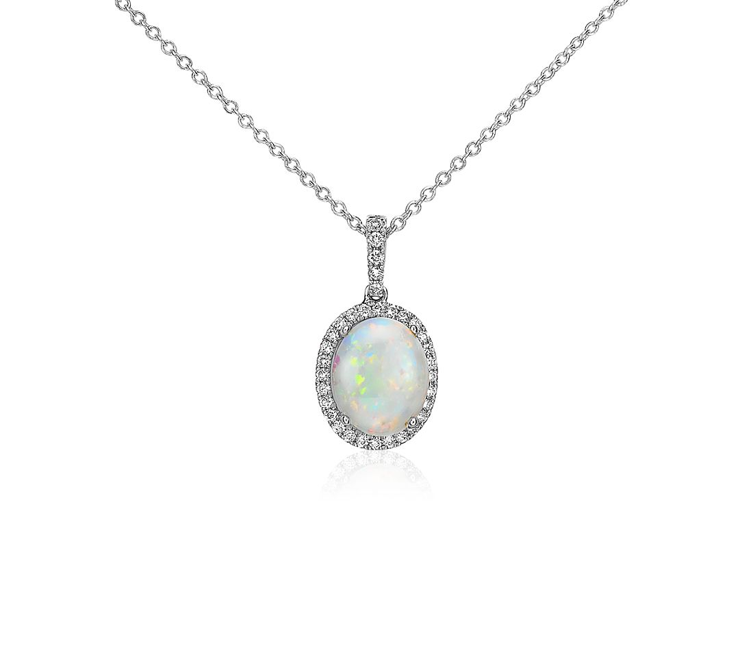 Opal and Diamond Pendant in 14k White Gold (10x8mm)