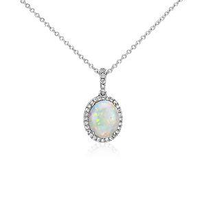 Colgante de diamante y ópalo en oro blanco de 14 k (10x8mm)
