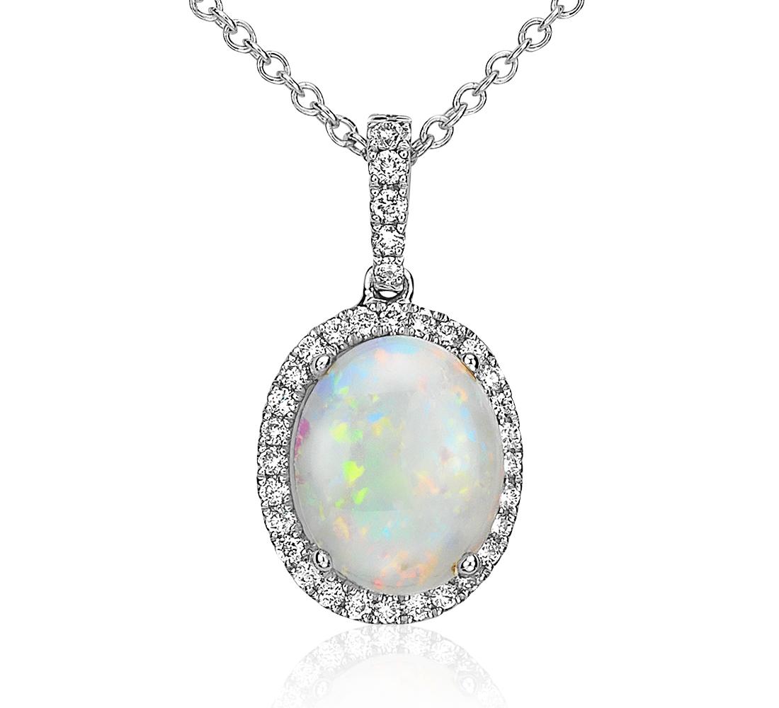 Pendentif diamant et opale en or blanc 14carats (10x8mm)