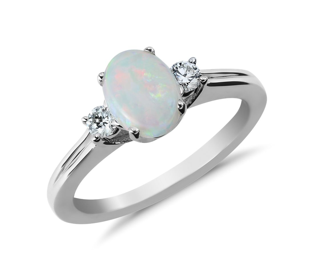 c7685d341b5777 Opal and Diamond Ring in 18k White Gold (8x6mm) | Blue Nile