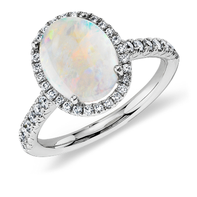 Opal and Diamond Halo Ring in 18k White Gold 10x8mm Blue Nile
