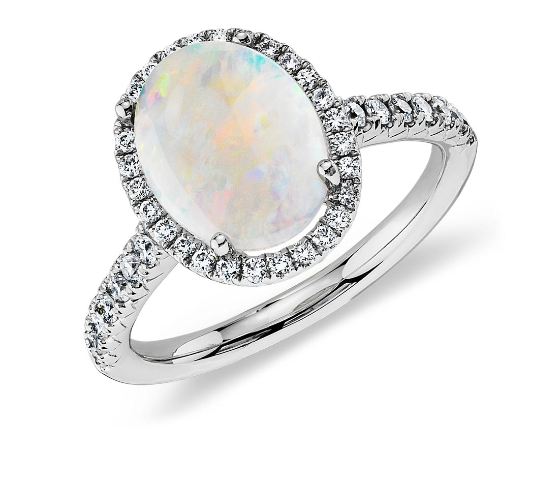 Opal and Diamond Halo Ring in 18k White Gold (10x8mm)