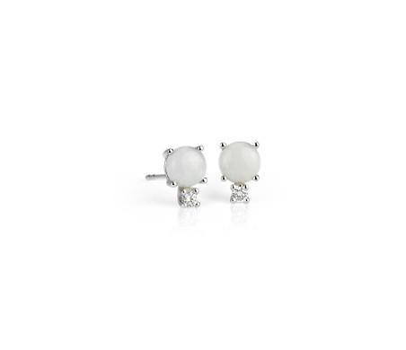 Aretes de diamante y ópalo en oro blanco de 18 k (5mm)