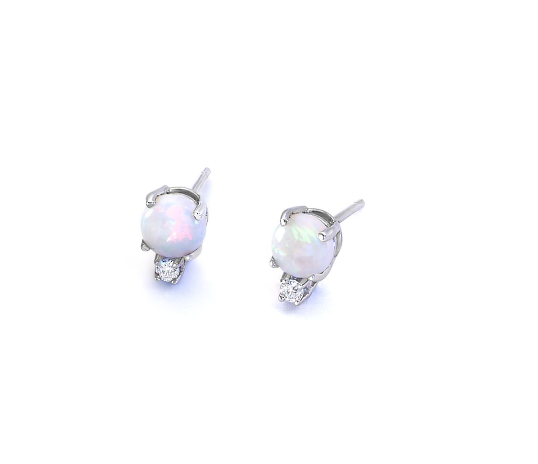 Opal and Diamond Stud Earrings in 18k White Gold (5mm)