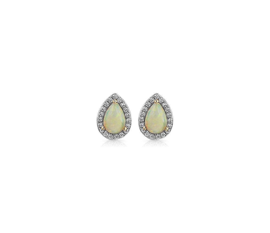 Opal and Diamond Halo Stud Earrings in 14k Yellow Gold 6x4mm