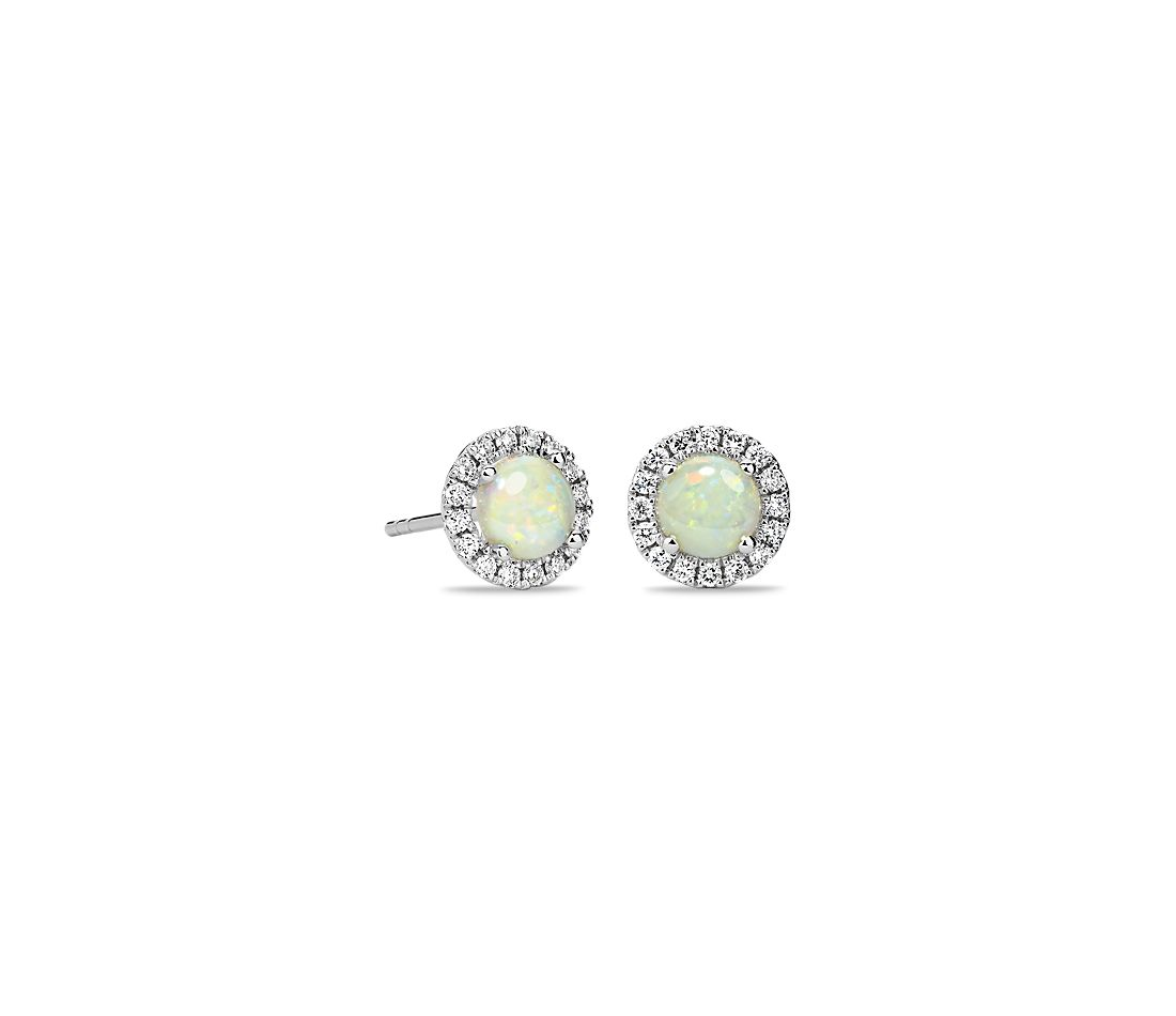 Opal And Micropavé Diamond Stud Earrings In 18k White Gold 5mm