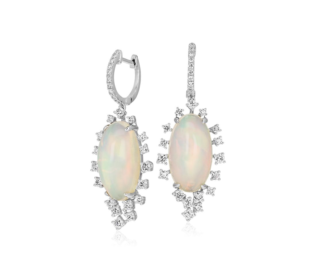 Opal and Diamond Sunburst Drop Earrings in 18k White Gold (11.92 ct. tw.)