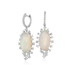 NEW Opal and Diamond Sunburst Drop Earrings in 18k White Gold (11.92 ct. tw.)