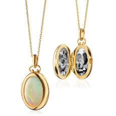 Monica Rich Kosann Petite Oval Opal Locket in 18k Yellow Gold (Limited Edition)