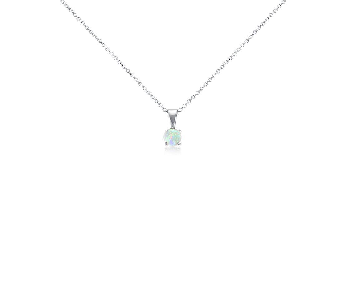 Opal Pendant in 18k White Gold (5mm)